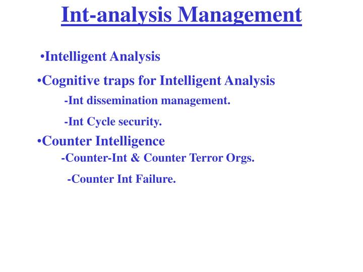 Int-analysis Management