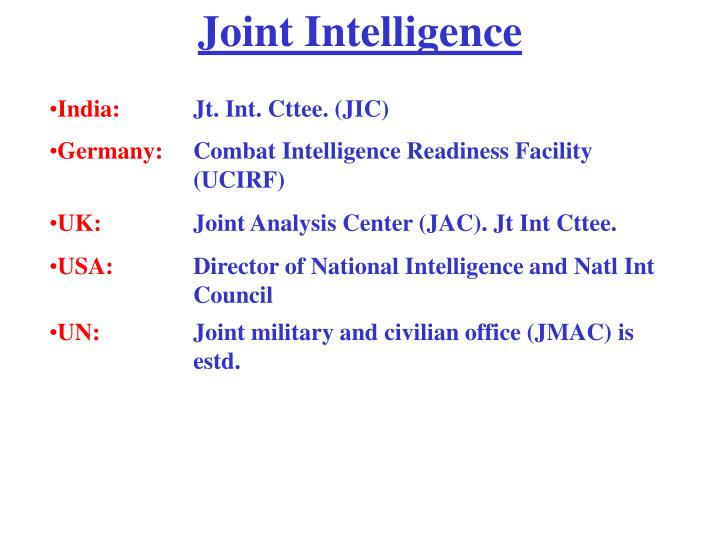 Joint Intelligence