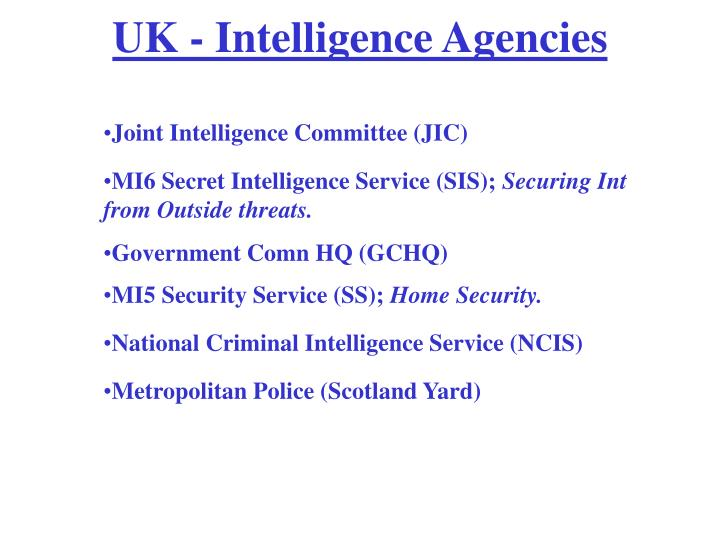 UK - Intelligence Agencies