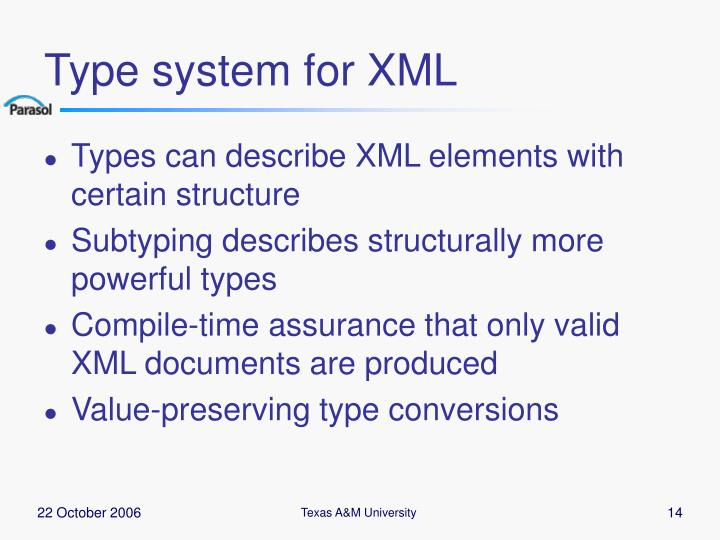 Type system for XML