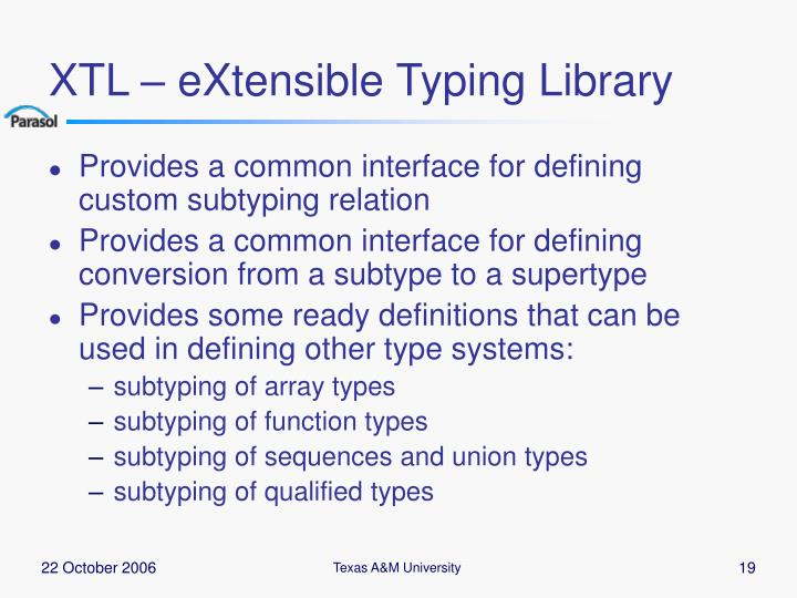 XTL – eXtensible Typing Library