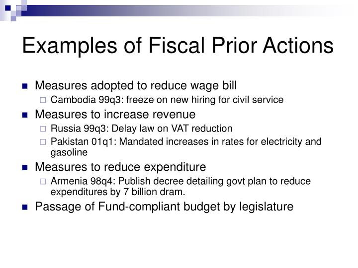 Examples of Fiscal Prior Actions