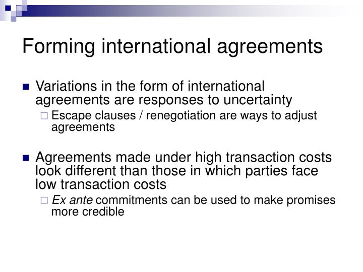 Forming international agreements