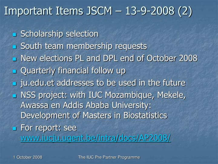 Important Items JSCM – 13-9-2008 (2)