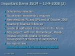 important items jscm 13 9 2008 2