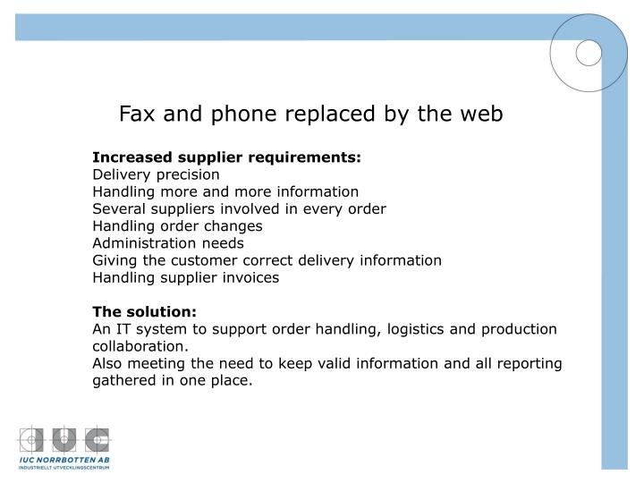 Fax and phone replaced by the web
