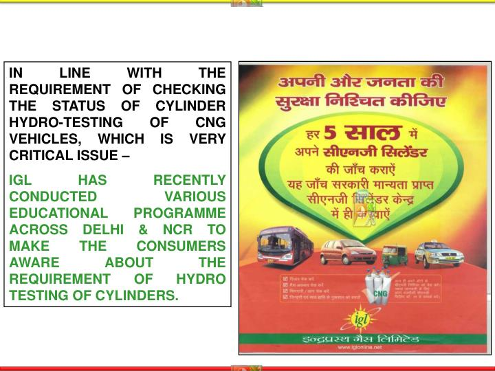 IN LINE WITH THE REQUIREMENT OF CHECKING THE STATUS OF CYLINDER HYDRO-TESTING OF CNG VEHICLES, WHICH IS VERY CRITICAL ISSUE –