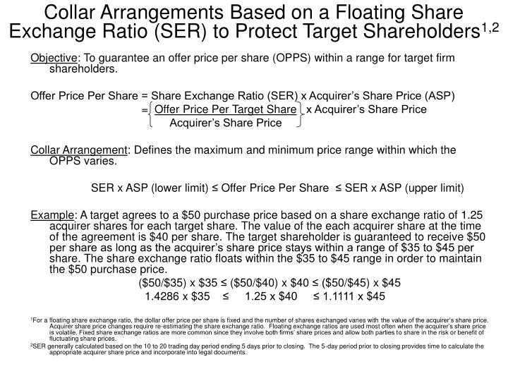 Collar Arrangements Based on a Floating Share Exchange Ratio (SER) to Protect Target Shareholders