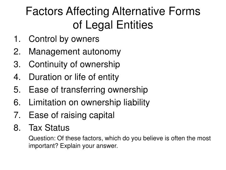 Factors Affecting Alternative Forms