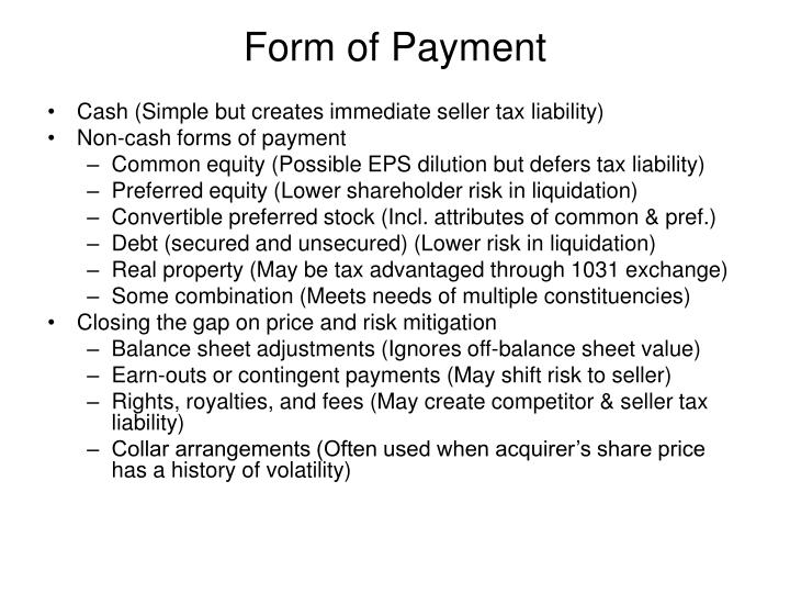 Form of Payment