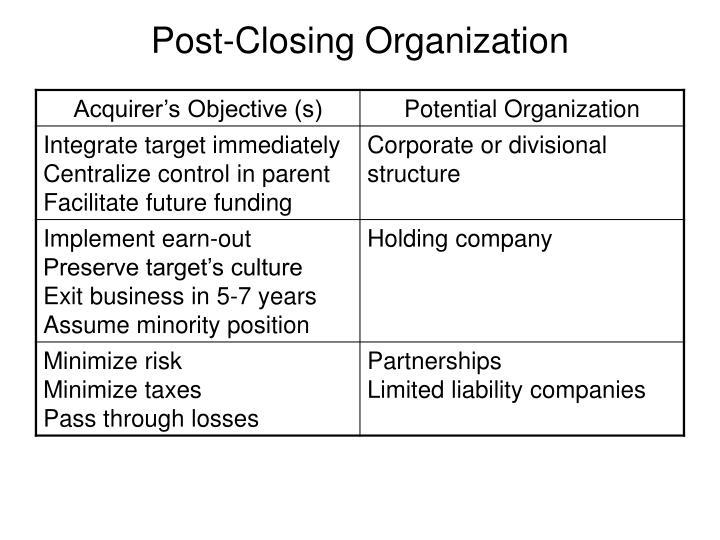 Post-Closing Organization
