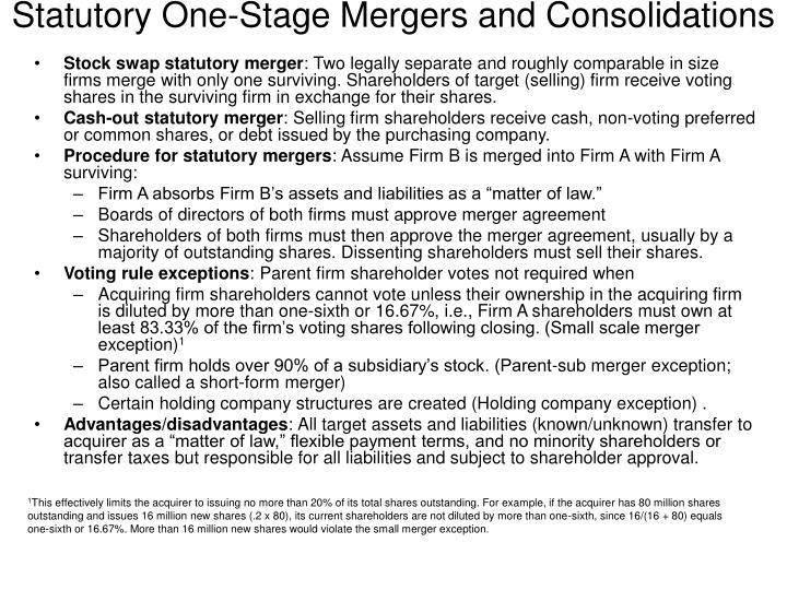 Statutory One-Stage Mergers and Consolidations