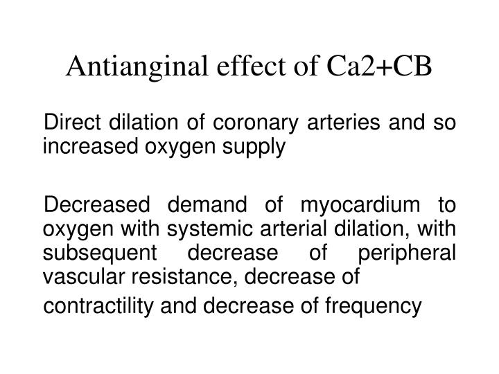 Antianginal effect of Ca2+CB