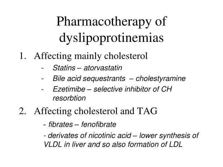Pharmacotherapy of dyslipoprotinemias