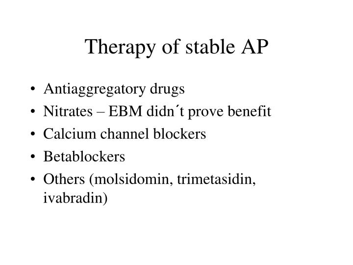 Therapy of stable AP