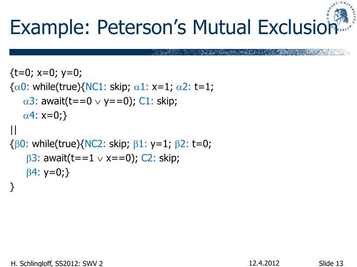 Example: Peterson's Mutual Exclusion