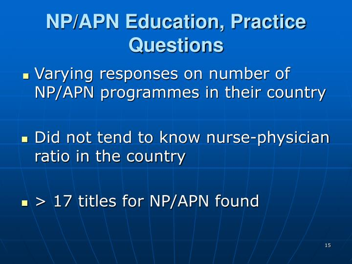 NP/APN Education, Practice Questions