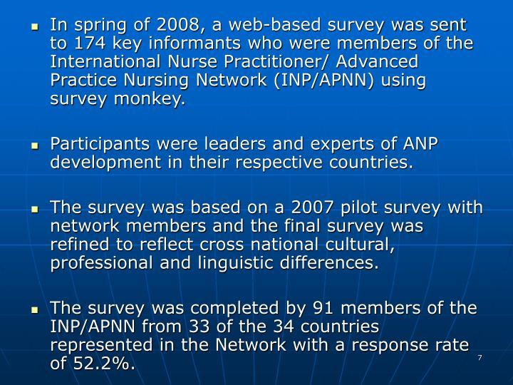 In spring of 2008, a web-based survey was sent to 174 key informants who were members of the International Nurse Practitioner/ Advanced Practice Nursing Network (INP/APNN) using survey monkey.