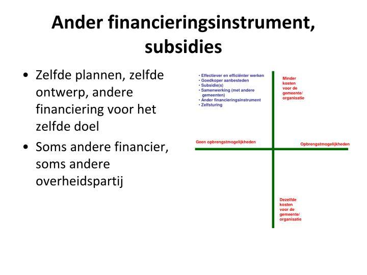 Zelfde plannen, zelfde ontwerp, andere financiering voor het zelfde doel