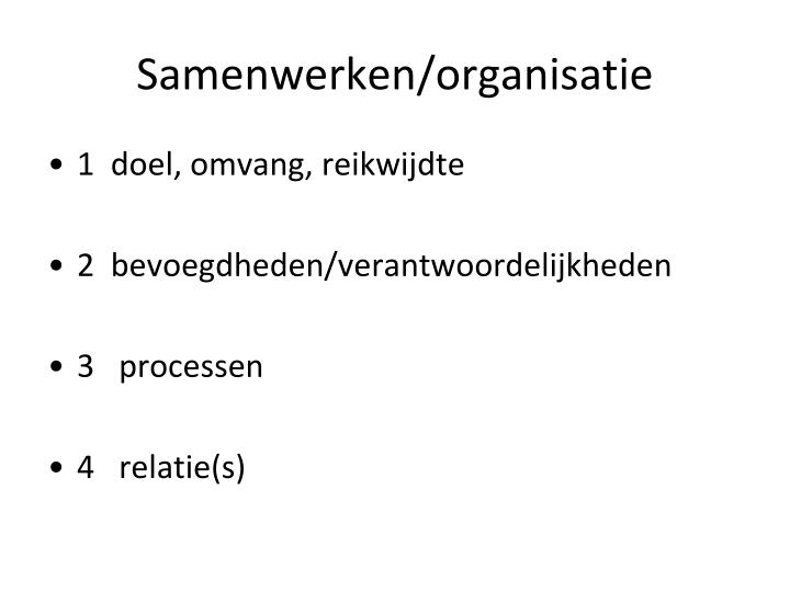 Samenwerken/organisatie