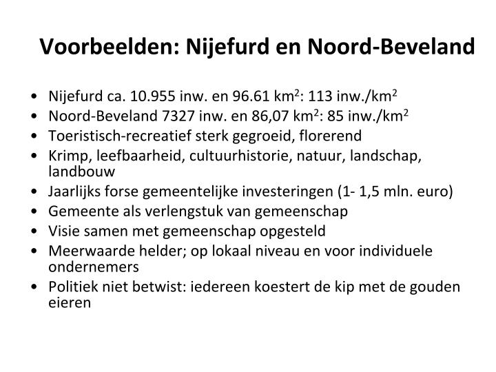 Voorbeelden: Nijefurd en Noord-Beveland