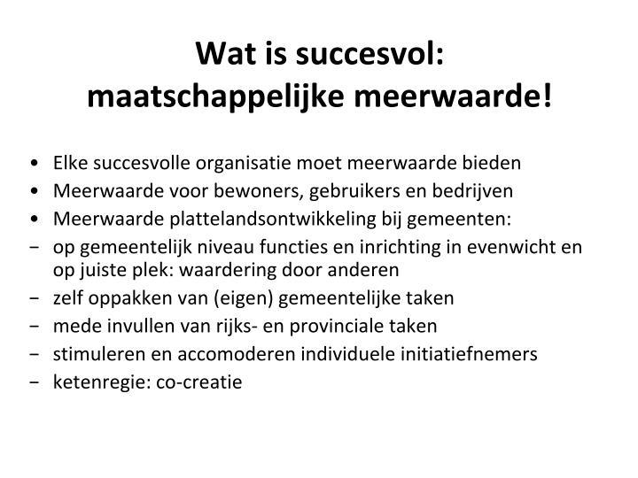 Wat is succesvol: