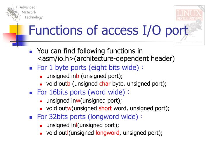 Functions of access I/O port