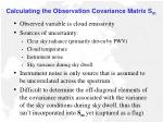 calculating the observation covariance matrix s m