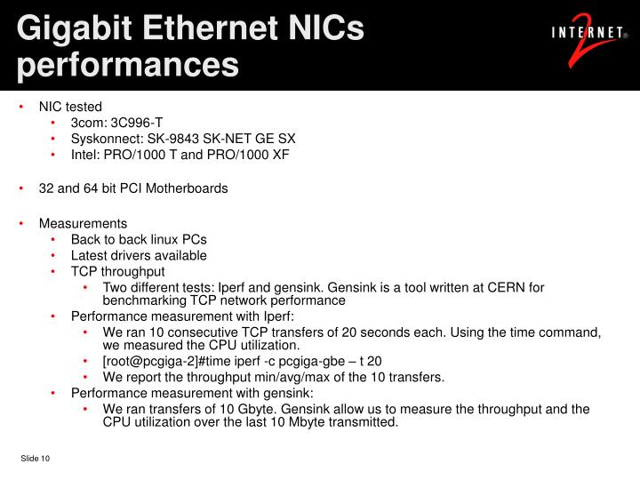 Gigabit Ethernet NICs performances