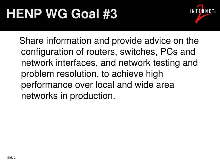 HENP WG Goal #3