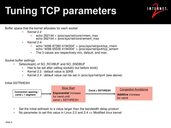 Tuning TCP parameters
