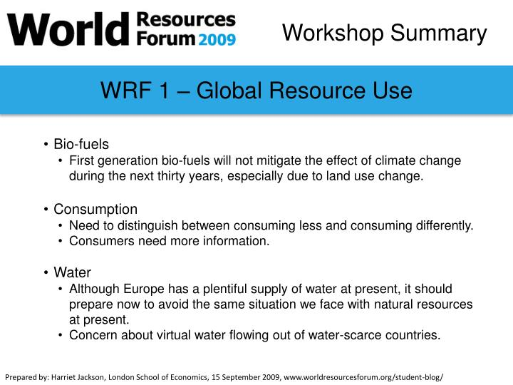 WRF 1 – Global Resource Use