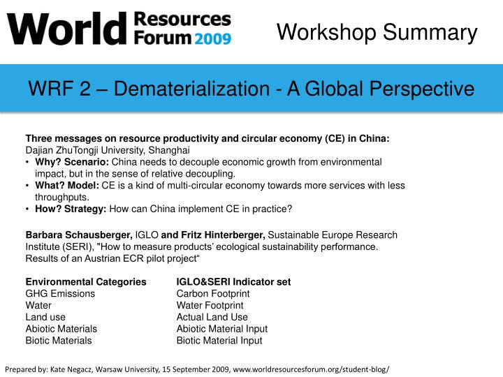 WRF 2 – Dematerialization - A Global Perspective