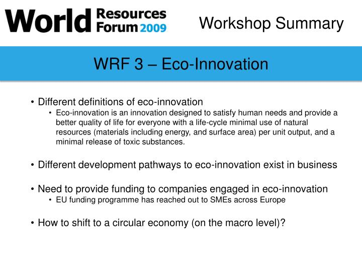 WRF 3 – Eco-Innovation