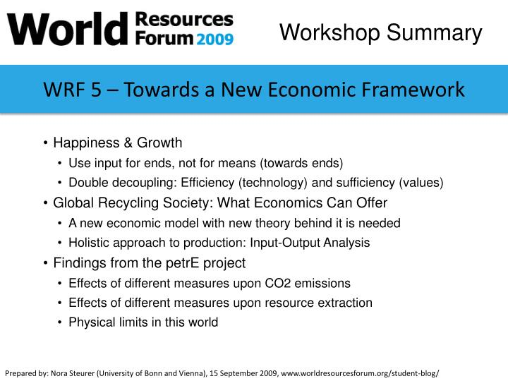 WRF 5 – Towards a New Economic Framework