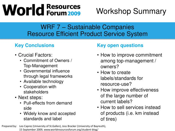 WRF 7 – Sustainable Companies