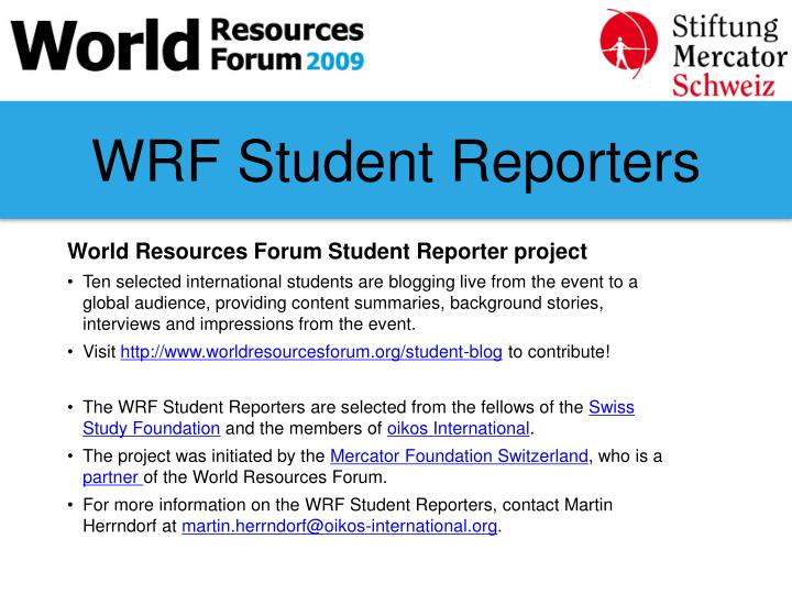 WRF Student Reporters
