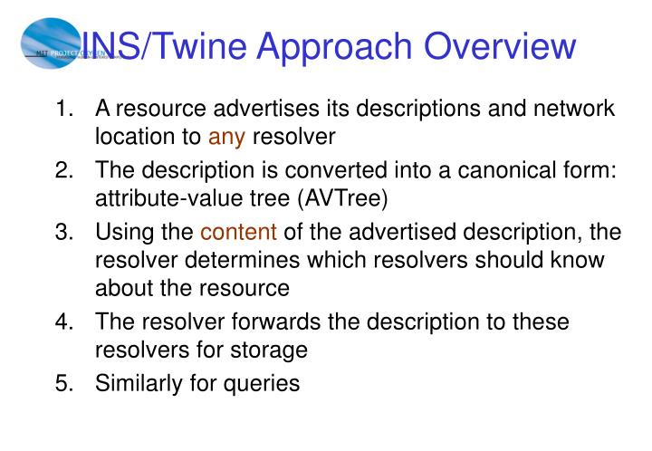 INS/Twine Approach Overview