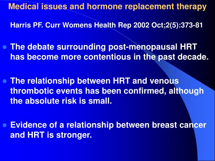 Medical issues and hormone replacement therapy