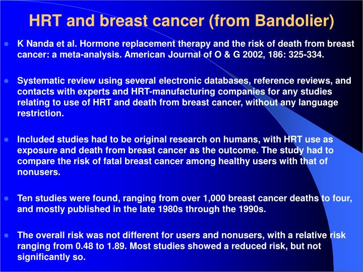 HRT and breast cancer (from Bandolier)