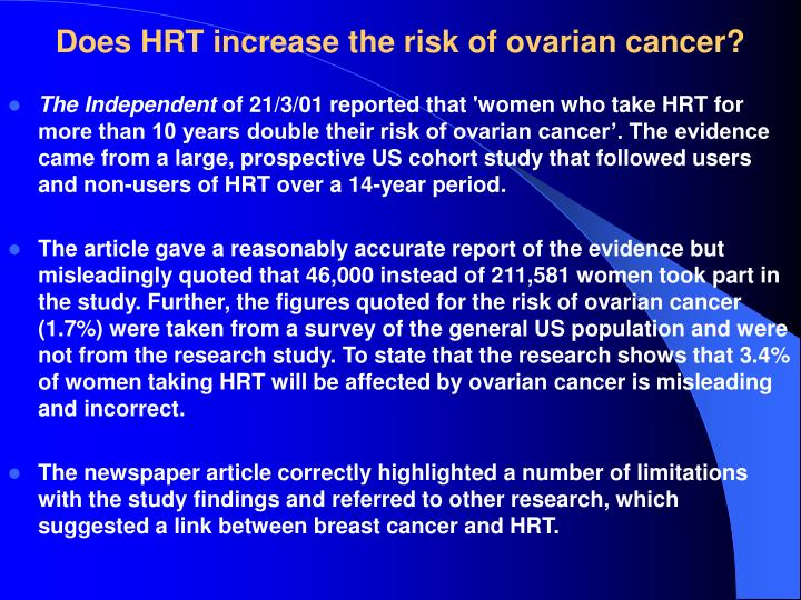 Does HRT increase the risk of ovarian cancer?