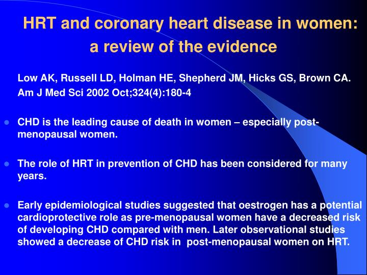 HRT and coronary heart disease in women: