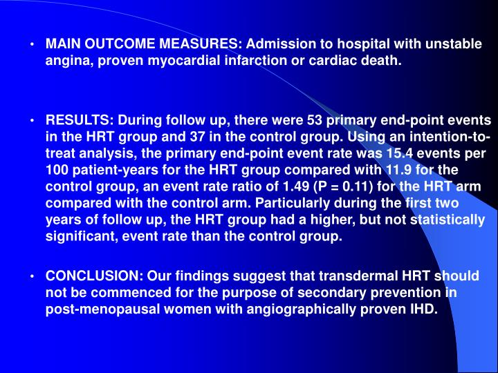MAIN OUTCOME MEASURES: Admission to hospital with unstable angina, proven myocardial infarction or cardiac death.