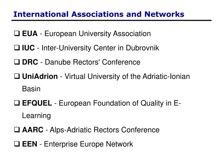International Associations and Networks