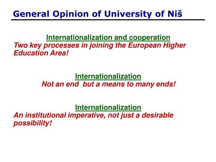 General Opinion of University of Ni