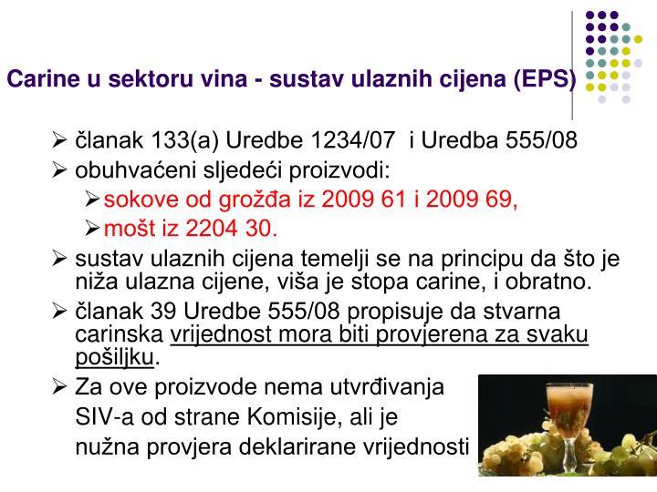 Carine u sektoru vina - sustav ulaznih cijena (EPS)