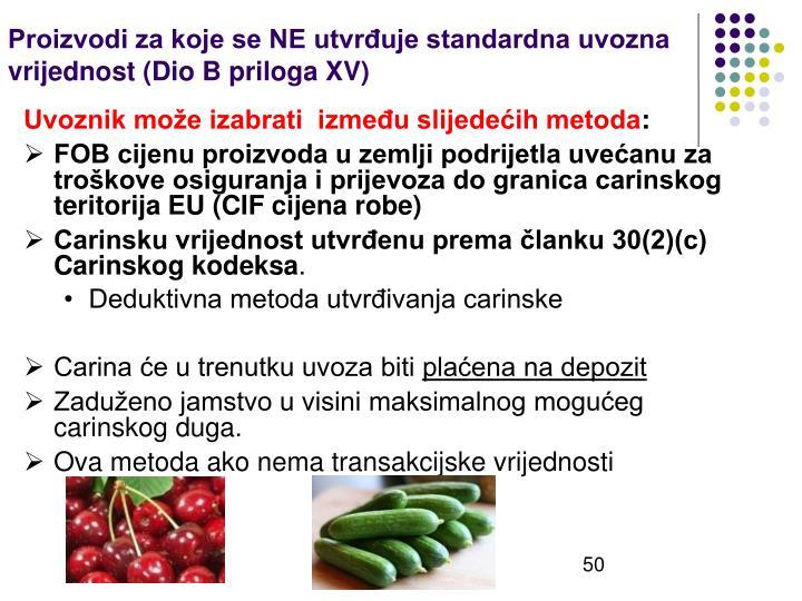 Proizvodi za koje se NE utvrđuje standardna uvozna vrijednost (Dio B priloga XV)