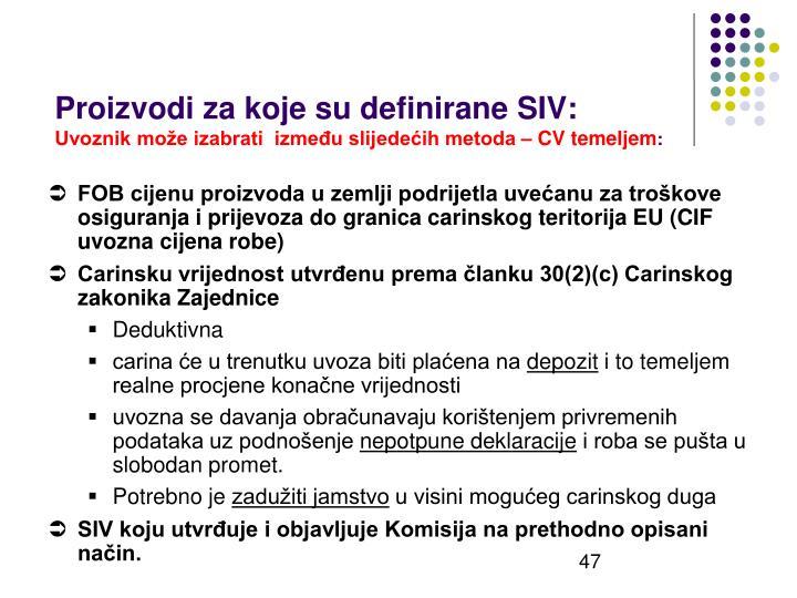 Proizvodi za koje su definirane SIV: