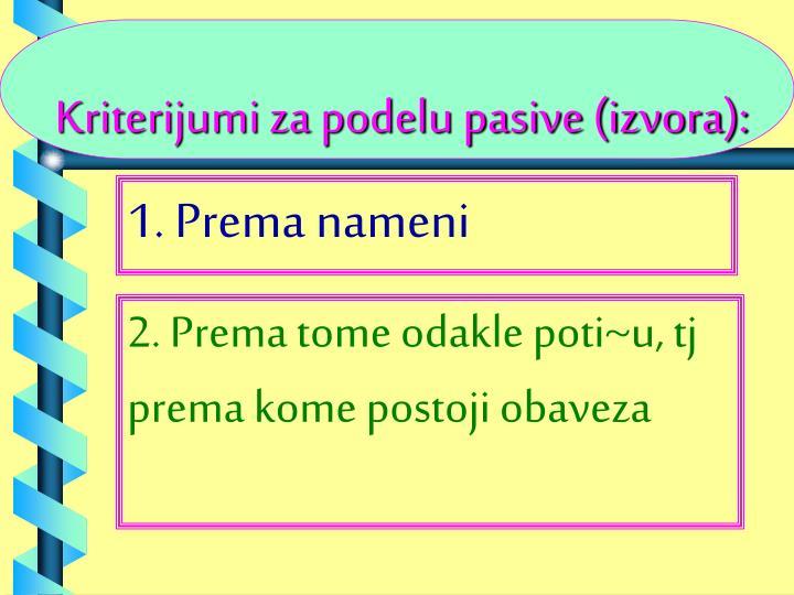Kriterijumi za podelu pasive (izvora):