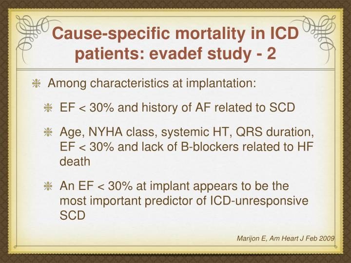 Cause-specific mortality in ICD patients: evadef study - 2